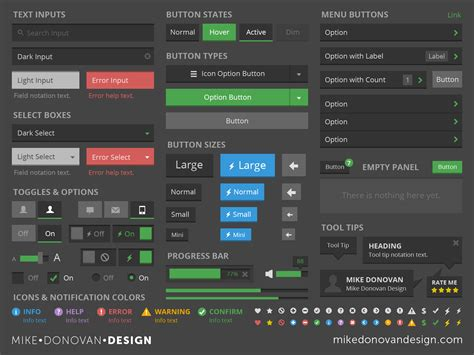 Autodesk dribbble mikedonovandesign ui kit flat dark 2x png by