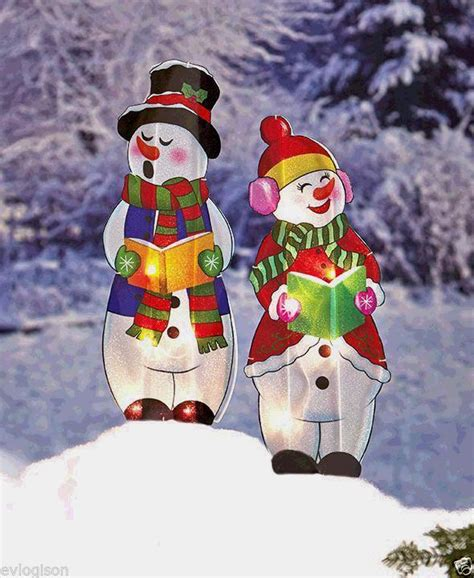 lighted holographic two snowman carolers christmas outdoor