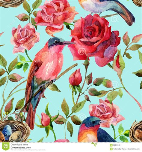 imagenes de rosas con pajaritos watercolor birds on the pink and red roses stock