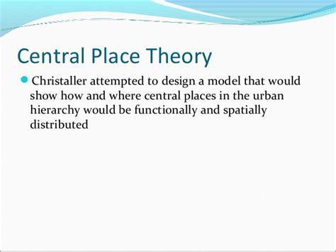 central place theory exercise 1 draw a circle and put an x at the