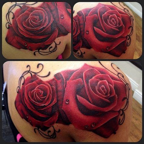 red white and blue rose tattoo realistic by jen sterry