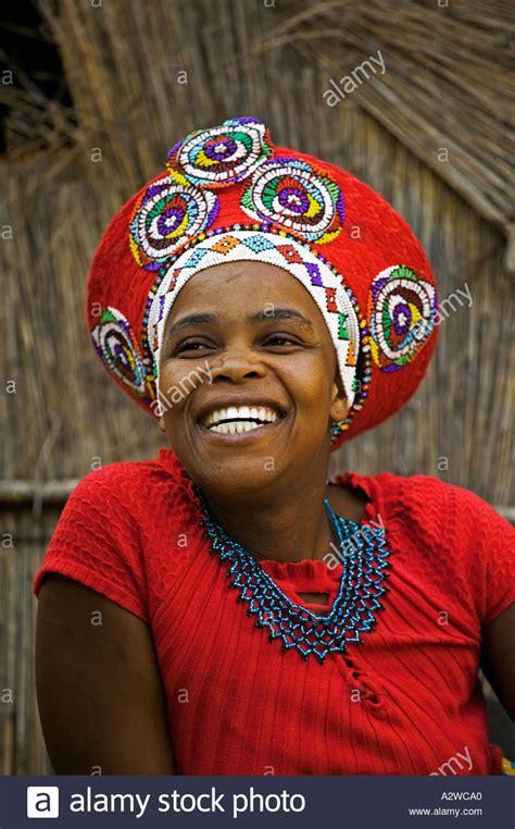 african zulu headdress zulu woman in traditional red headdress of a married woman