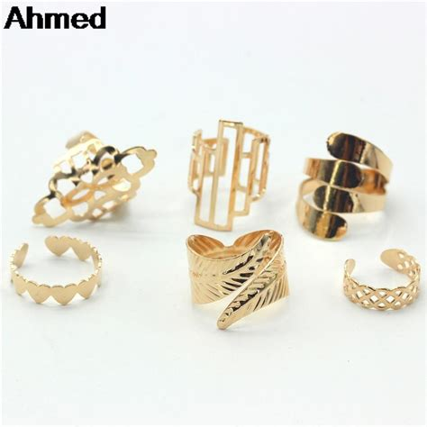 ahmed jewelry high quality 6pcs set gold finger ring for