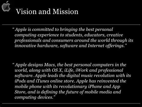 apple vision apple mission statement steve jobs mission was to change