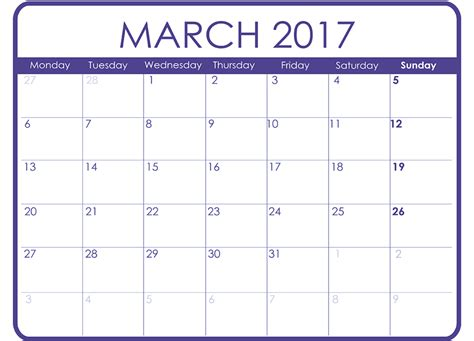 march calendar template march 2017 printable calendar templates free printable
