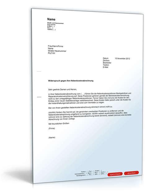 Musterbrief Widerspruch Gegen Mieterhöhung Widerspruch Nebenkostenabrechnung Musterbrief Zum
