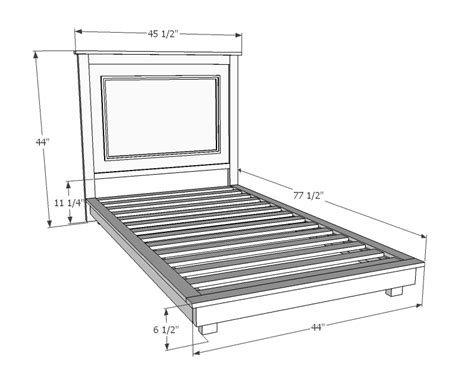 dimensions of a twin bed frame ana white build a fillman platform twin platform bed free