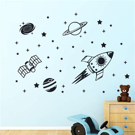 rocket wall stickers rocket outer space ship vinyl wall sticker decor decal