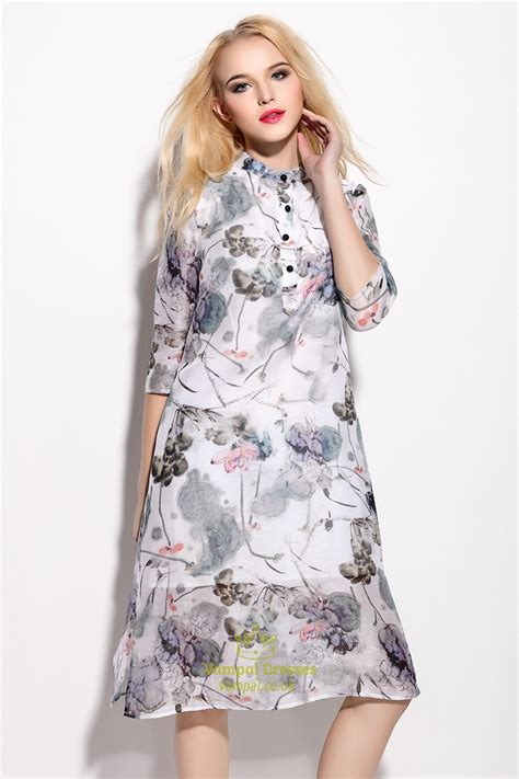 Print Sleeve Chiffon Dress vintage style floral print chiffon dress with 3 4 sleeve