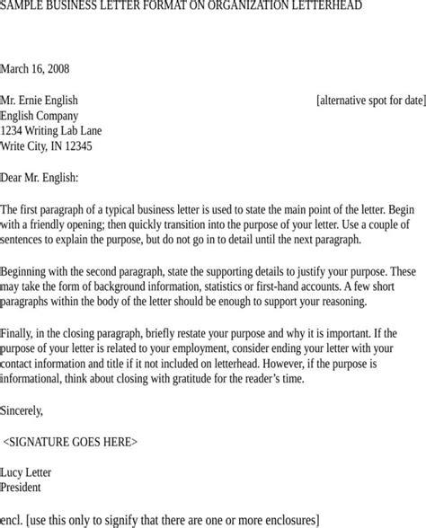 Business Letter Format Encl Free Professional Business Letter Template For Doc Pdf