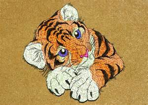 baby tiger lying embroidery design 2 sizes amp 6 formats