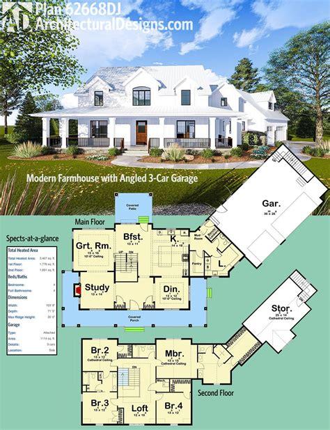 farmhouse floor plan plan 62668dj modern farmhouse with angled 3 car garage