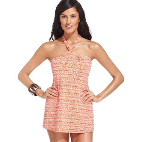 Printed Swimdress jones new york bandeau printed swimdress in pink orange