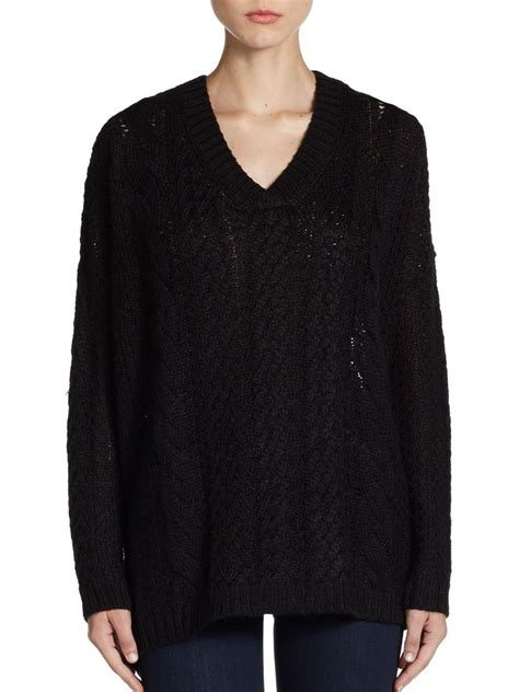 black cable knit sweater vkoo chunky cable knit sweater in black lyst