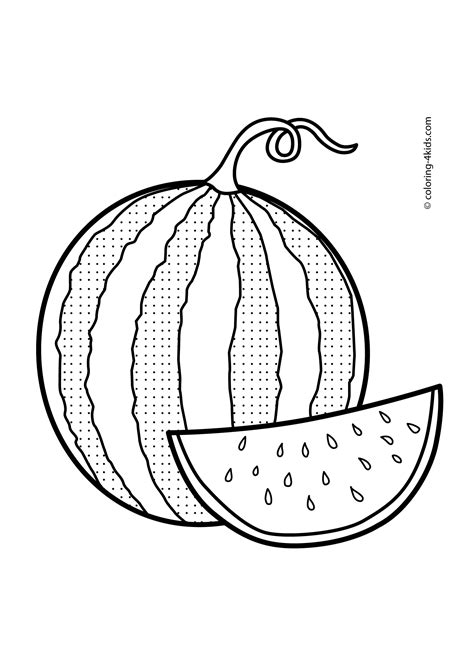 whole watermelon coloring page watermelon fruits coloring pages for kids printable free