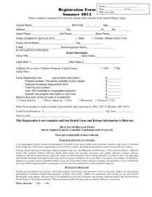 summer c registration form template summer c application form template besttemplates123