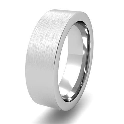 Flat Rin 895 brushed finish mens wedding band in 18k gold comfort fit