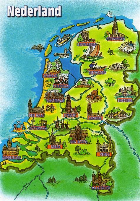 netherlands map images maps 10 postcard map from the netherlands
