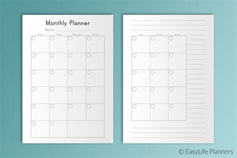 monthly planner printable templates creative market