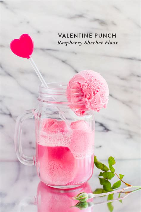 valentines punch raspberry sherbet float say yes