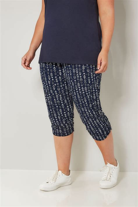 Harem Cropped navy white aztec cropped harem trousers plus size 16 to 36