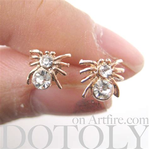 Spider Stud Earrings small spider tarantula insect bug animal stud earrings
