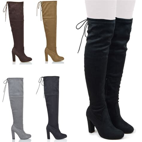 mid heel thigh high boots new womens thigh high boots the knee stretch