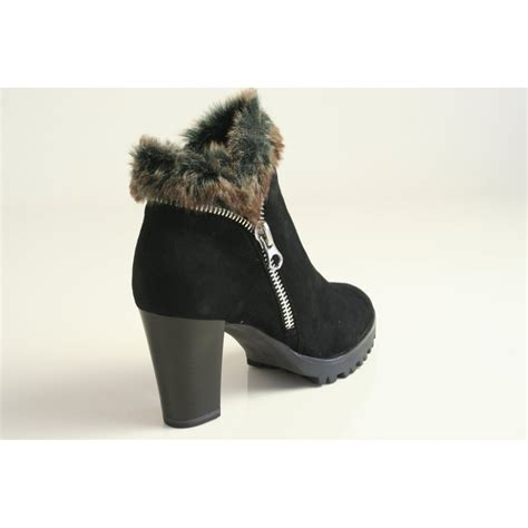 caprice caprice black suede leather ankle boot with faux
