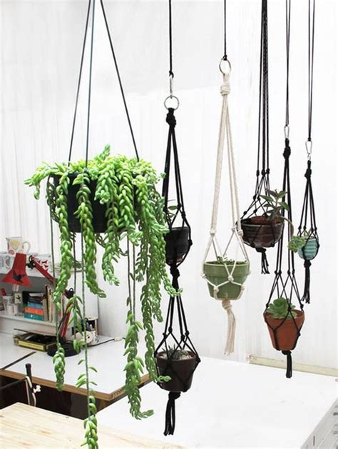 how to make hanging planters diy plant pot hanging rope fabdiy