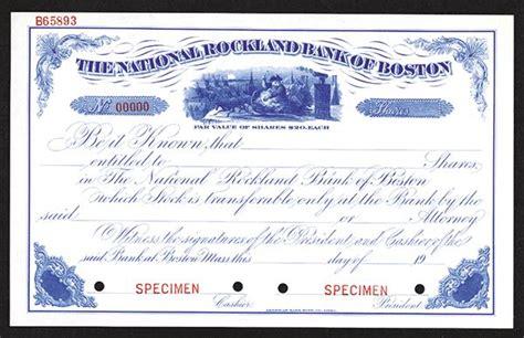 national rockland bank of boston specimen share