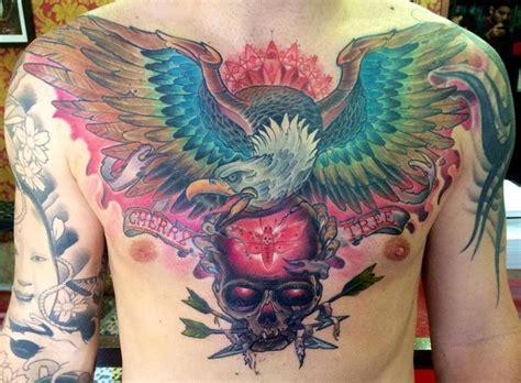 eagle amp skull chest piece best tattoo design ideas