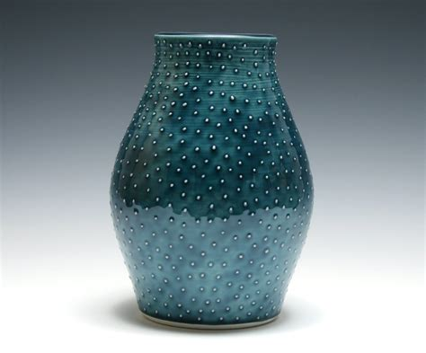 Teal Vase by Teal Vase With Raised Dots