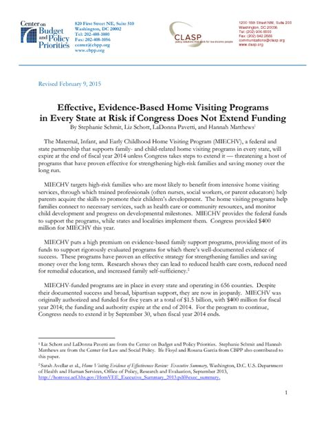 Evidence Based Research Paper by Effective Evidence Based Home Visiting Programs In Every State At Risk If Congress Does Not