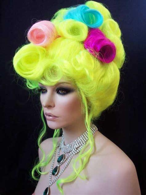 drag updo hair drag queen wig multi colored neon updo drag queen wigs