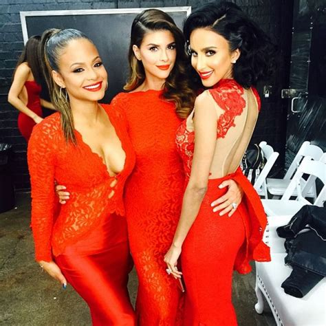 shiva safai hair extensions christina milian in michael costello red lace dress 2014