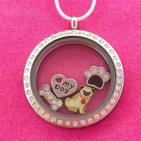 pug charm necklace pug floating charm locket necklace circle with crystals lovethebreed