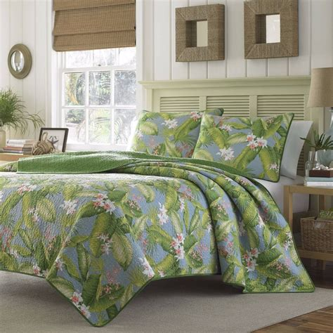 King Size Quilt And Shams King Size Tropical Coastal Quilt Set Vibrant Blue Green