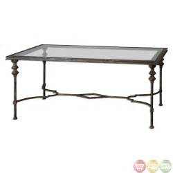 Glass Top For Coffee Table Quillon Antique Gold Finish Glass Top Coffee Table 24364