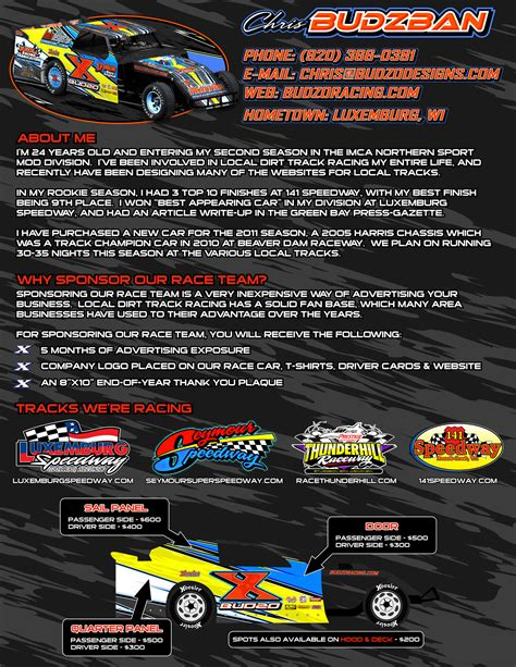 motorsports sponsorship template 2011 marketing 187 budzo racing x chris budzban