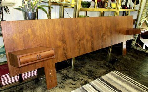 1960 s teak king size headboard with floating nightstands