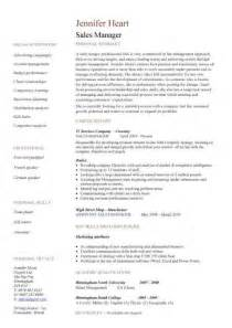 Sle Of C V Or Resume by Sales Manager Cv Exle Free Cv Template Sales Management Sales Cv Marketing