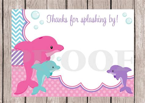 printable birthday cards with dolphins printable dolphin birthday party thank you card pink