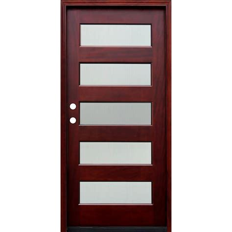 Glass Panel Doors Exterior Pacific Entries 36 In X 80 In Contemporary 5 Lite Reed Stained Mahogany Wood Prehung Front