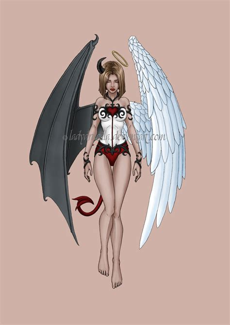 devil angel tattoo coloured by tashotoole on deviantart