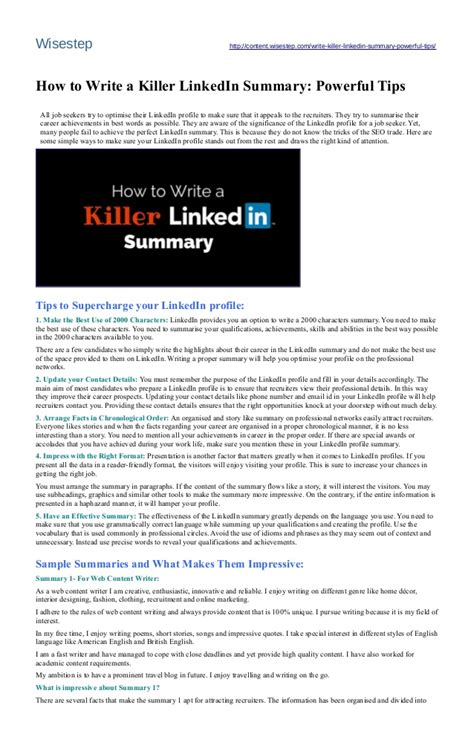 powerful tips to write a killer linkedin summary