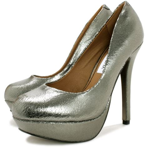 saucy stiletto heel platform court shoes silver metallic