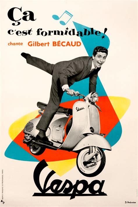 Vespa Vintage Poster mid century poster highlights vespa international poster