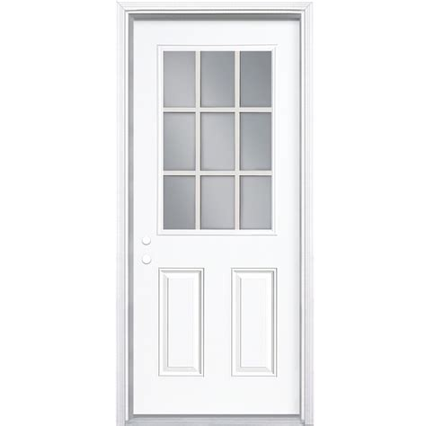 shop exterior doors shop masonite decorative glass right inswing primed