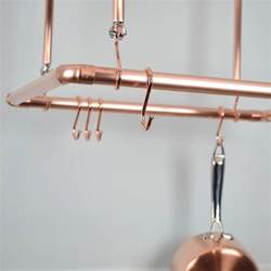 copper ceiling pot and pan rack organiser by proper