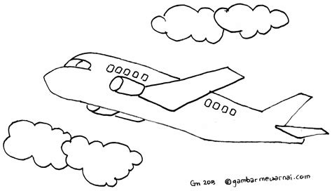 mewarnai gambar pesawat terbang 484